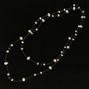Jewelry - Long Black & Clear Bead Necklace